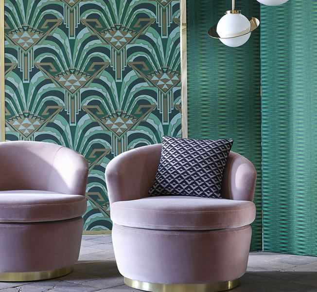Grön art deco tapet - The Muse - Från Zoffany