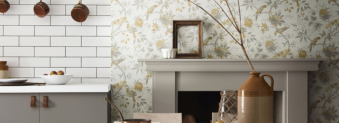 Historisk tapet med blommor - Brooke House - Little Greene